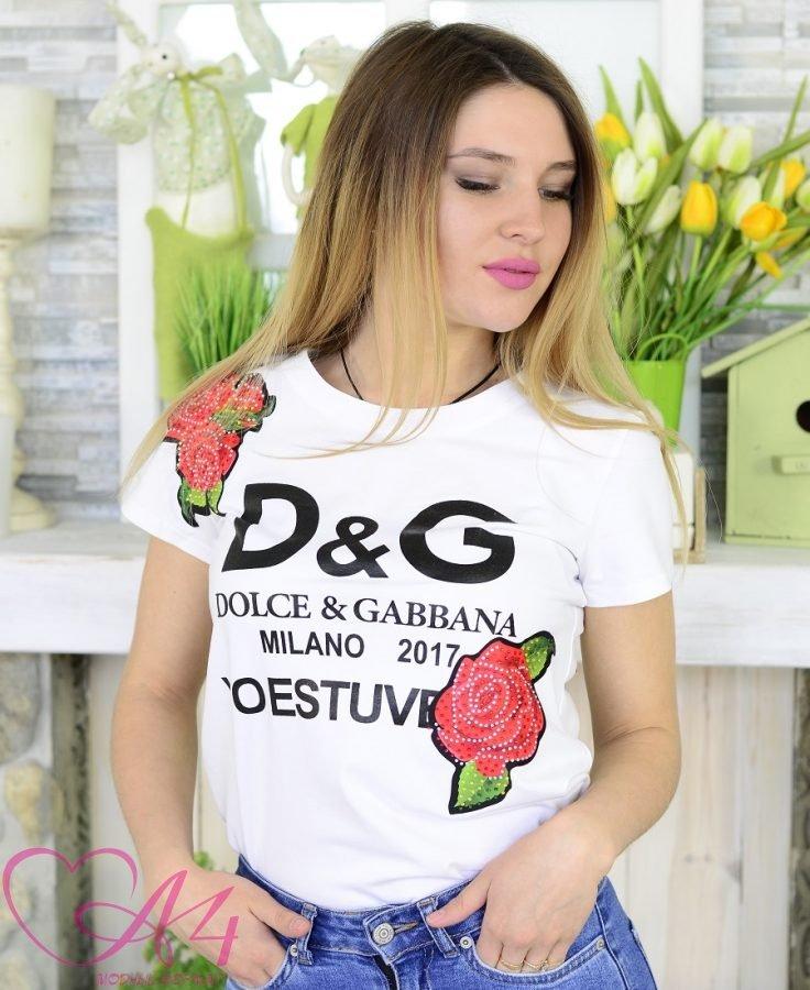 Женская футболка D&G белая фото