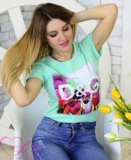 Женская футболка D&G цветы (мята) - фото