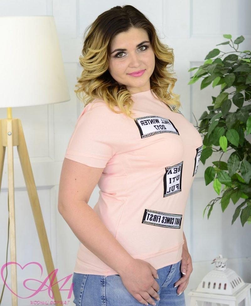 """Женская футболка """"Дора"""" пудра фото"""