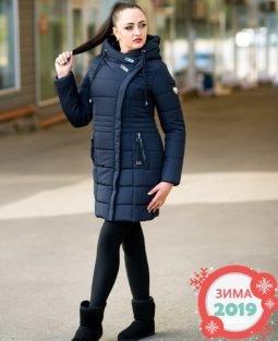 Теплый пуховик Франческа планка (темно-синий) - фото